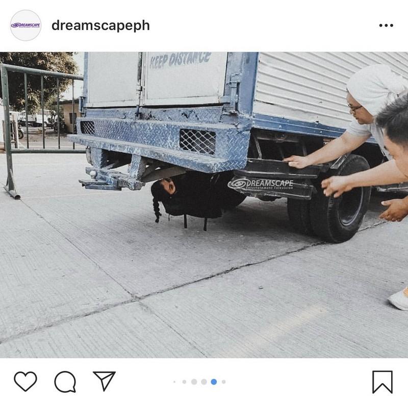 Behind-The-Scenes: Angel Locsin, nag-enjoy sa ilalim ng truck