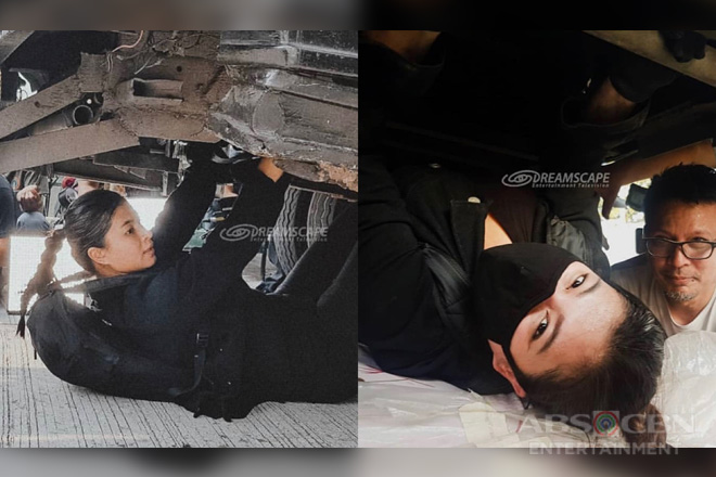Behind-The-Scenes: Angel Locsin, nag-enjoy sa ilalim ng truck